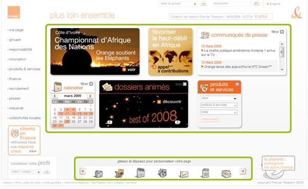Vue d'écran de la page d'accueil du site institutionnel d'Orange